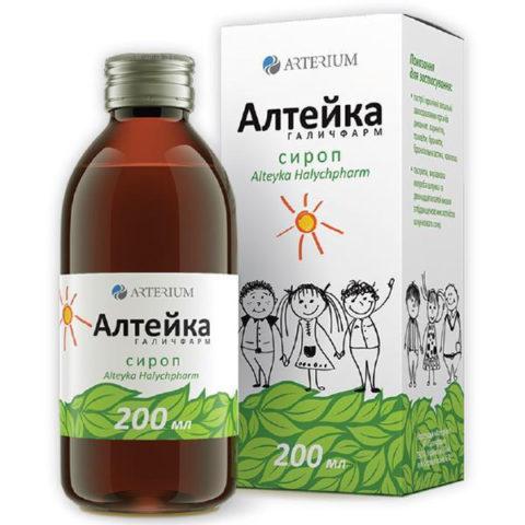 Эффективными средствами, содержащими в своем составе корень алтея, считаются «Мукалтин» и сиропы Алтея (на фото) и «Алтейка»
