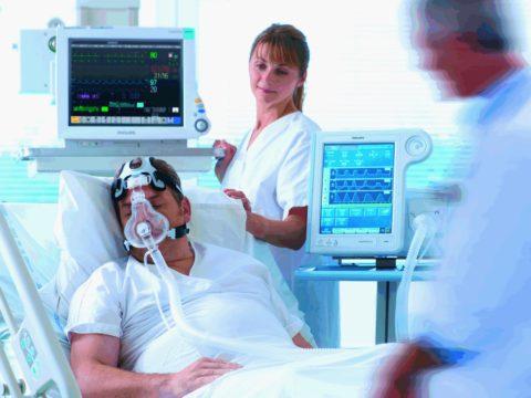 При дыхательной недостаточности может потребоваться ИВЛ
