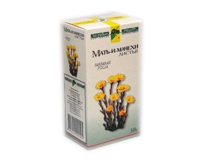 Аптечная упаковка высушенных листьев мать-и-мачехи