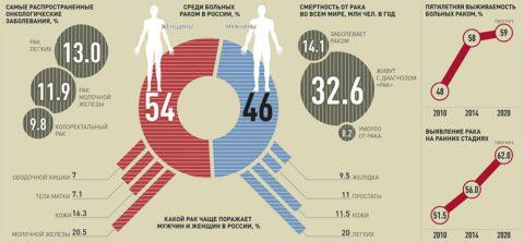 Инфографика по самым распространенным видам рака в России